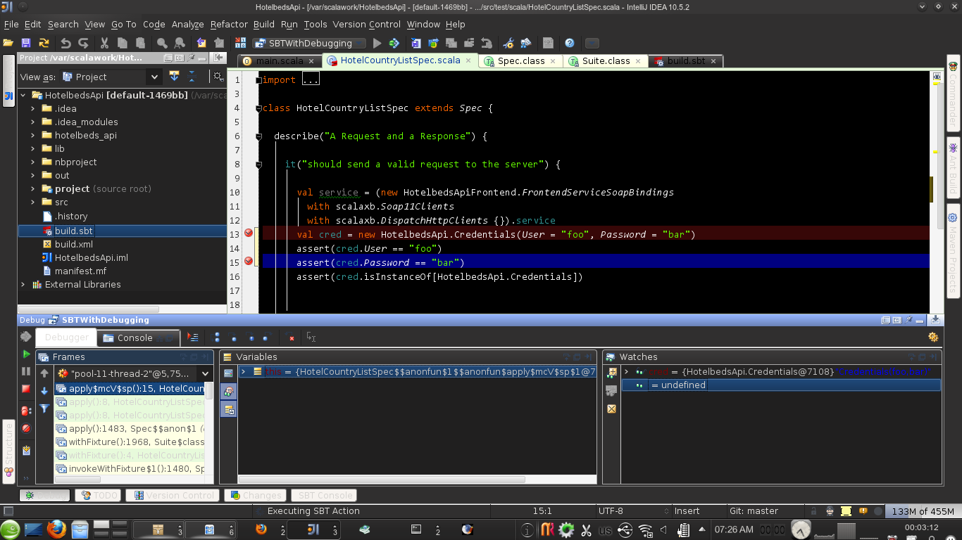 Debugging Scala with IntelliJ and the SBT Plugin | Dirk Net